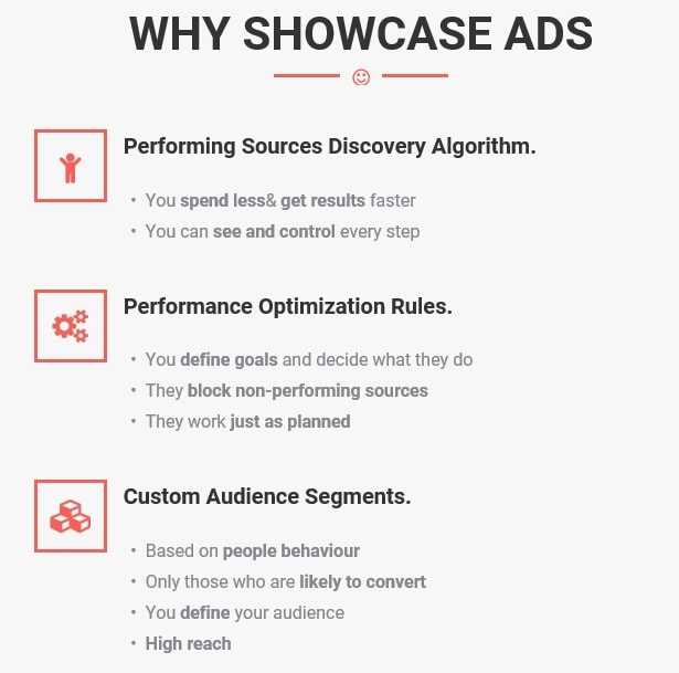 Advantages of ShowCaseAds
