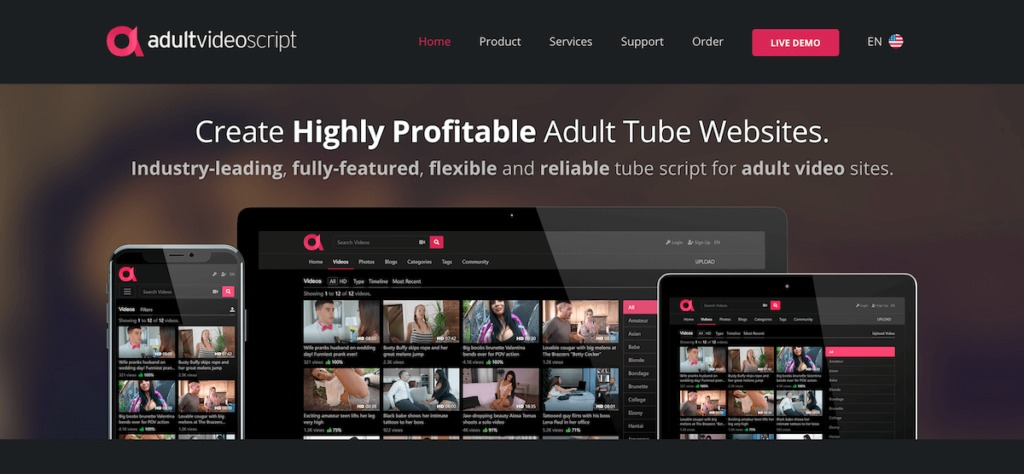 Adult Video Script is a very flexible, solid, and reliable tube script. Available in four packages, AVS allows you to share photos, galleries, and games on your adult tube website.