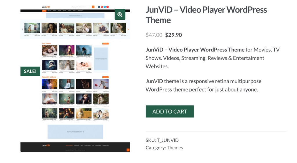 JunViD WordPress theme is suitable for movies, TV shows, streaming, reviews, and adult entertainment. It will fit everyone's expectations of being a responsive retina multipurpose theme.